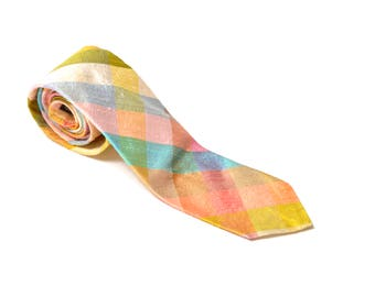 60s Pastel Silk Neck Tie Diamond Tartan Patterned Robert Talbott Easter Preppy