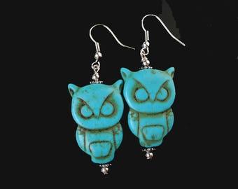 Owl Earrings, Turquoise Owl Earrings, Silver and Stone Owl Dangle Earrings, Owl Jewelry - SE-GSP380