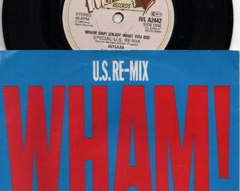 "WHAM Wham Rap! (Enjoy What You Do) 1982 UK Issue Rare Debut 7"" 45 rpm Vinyl Single Record pop dance 80s music George Michael IVLA2442"