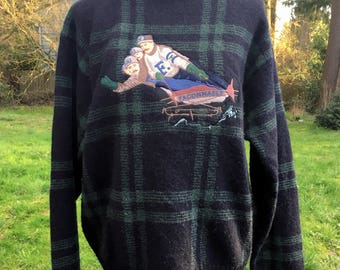 Faconnable Wool Sweater/4 Man Sled Graphic/Green Plaid Sweater/Unisex Wool Pullover/Mens M Womens L/Crew Neck Shetland Wool/ Winter Graphic