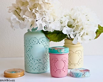 Kitchen Canisters / Utensil Holders / Painted Mason Jars / Vase / Home Decor / Summer Decor / Yellow Aqua Pink / Kitchen Decor Set of 3
