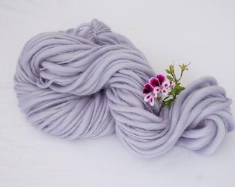 pastel blue merino wool handspun thick and thin