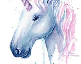 Unicorn Cotton Candy Watercolor Art Print, Unicorn Print, Baby Girl Nursery, Unicorn Painting, Unicorn Watercolor, Magical Creature