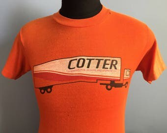 70s 80s Vintage Cotter International Moving and Storage Co. truck T-Shirt - SMALL