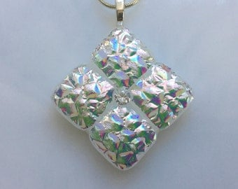 Dichroic Glass Pendant, Fused Glass Jewelry, Silver Dichroic Cubic Zirconia Necklace