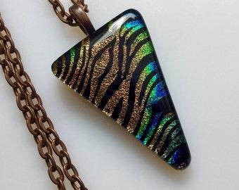 Dichroic Glass Jewelry, Fused Glass Jewelry, Dichroic Copper Zebra Stripe Necklace