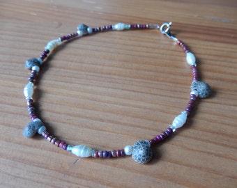 Anklet - Purple, White, Shell - Handmade Beaded Anklet - Summer, Beach, Mermaid, Ocean, Hippie, Boho, Bohemian, Shells