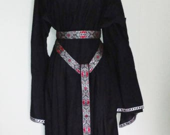 L Underdress in Black Cotton with Red & Silver Trim, Bell Sleeves, Kirtle, Under Dress