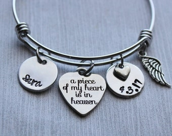 A Piece Of My Heart Is In Heaven Memorial Bracelet, Memorial Gifts, Memorial Jewelry, Remembrance Jewelry, Remembrance Bracelet, Sympathy