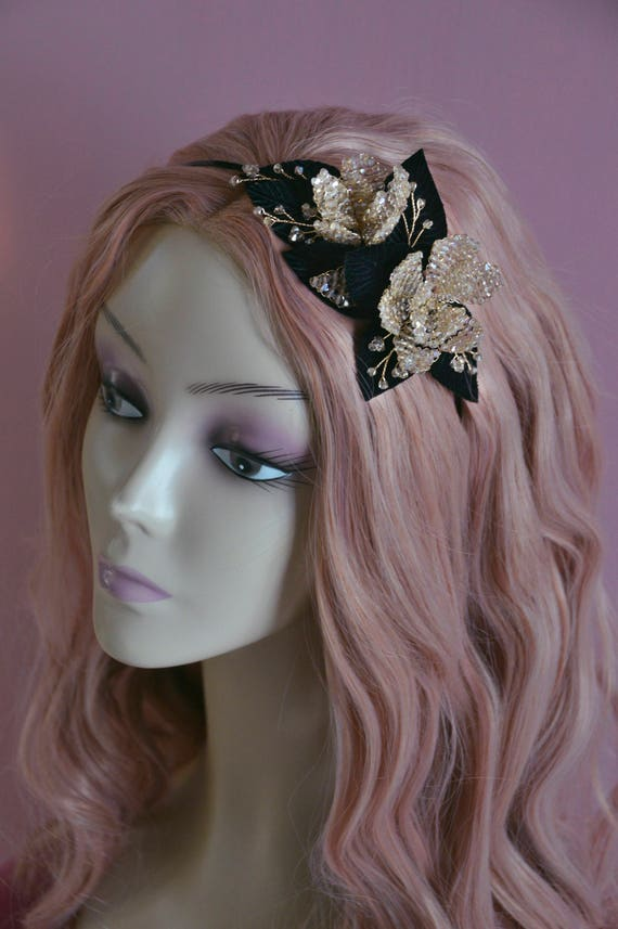 Crystal Headband - Black Fascinator