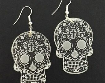 Sugar Skull Laser Engraved Earrings Clear Acrylic