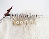 Cream Glass Pearl Stitch Markers set of 6
