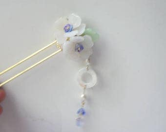 White glaze cherry blossom  pearl shell hairpin hair accessory 1001