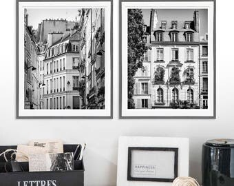 Black and white large Wall art set of 2 Paris prints, architectural art Paris photography art set of two prints, 11x14, 16x20 vertical print