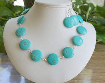 Blue Turquoise Necklace Set, Women's Blue Necklace, Blue Statement Necklace, Chunky Necklace