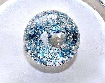Blue Lucite Shell Brooch ~ Vintage Silver Glitter Confetti Pin w/ Tiny Seashells