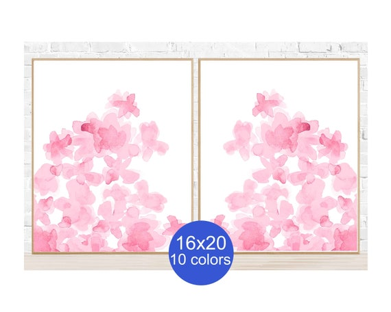 Pale Pink Flower Posters, 16x20 Set of 2, in 10 Colors