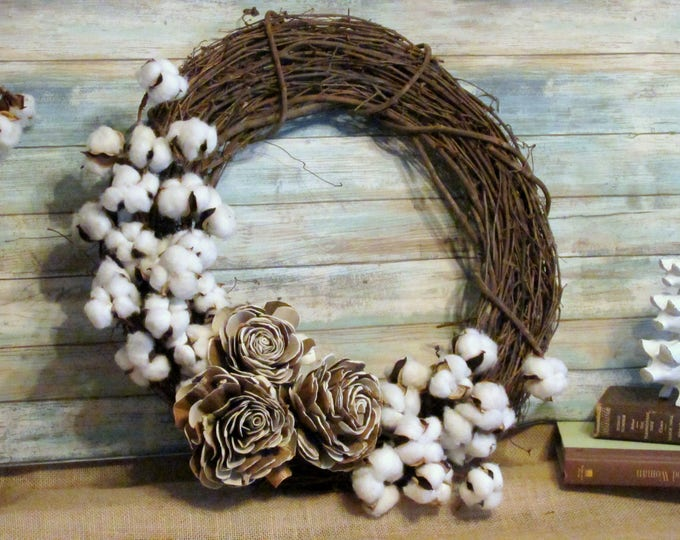 "Cotton Wreath with Roses, 18"" Country Farmhouse Wreath Cotton and Faux Wood Roses, Rustic Farmhouse Cotton Wreath, Gallery Wall Decor"