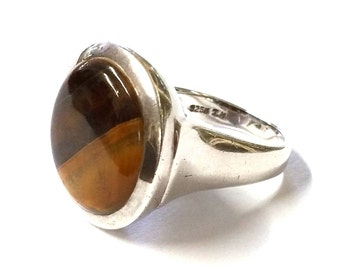 Modernist Tiger Eye and Sterling Silver Ring 925S
