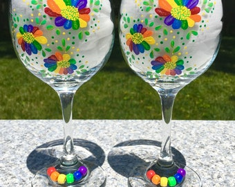 Wine Glasses Hand Painted Rainbow Flowers Set of 2, LGBT Couple Gift, Gay Pride Glasses, Gay Wedding Gift, Rainbow Glasses, Gifts For Her