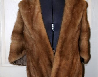 1940s Mink Fur Stole - B. Forman Co - Rochester, NY - Monogrammed - Slash Pockets - Snap Front Closure