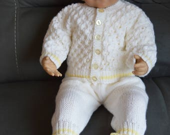 3-6 Month Sweater, Long Pants, Hat and Booties outfit in white Trimmed with Lemon Ready to Ship Now