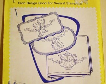 Aunt Martha's Hot Iron Transfers 3661 Dishes for Tea Towels, Vintage Embroidery Pattern, Linen Motifs