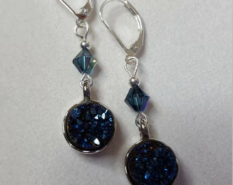 Midnight Blue Druzi Gemstone and Crystal Earrings