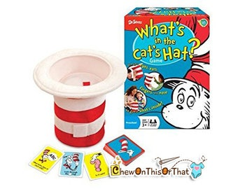 Dr Seuss What's in the Hat Board Game, Family Game Night, Multi Sensory Guessing, Gaming, Preschoolers Toddler Fun Activities, Dr. Seuss Day