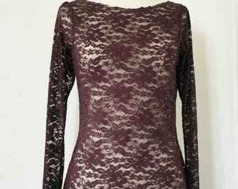 """Penny"" lace Burgundy sweater"
