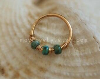 Helix earring -hex hoop- Cartilage earring - tragus piercing - turquoise piercing - turquoise nose ring - 24/22/20 gauge Extra Thin hoop