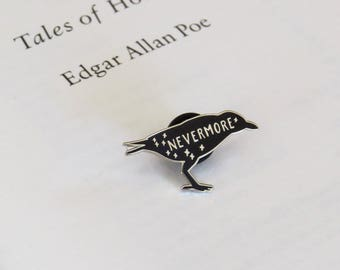 The Raven Enamel Pin - Edgar Allan Poe Enamel Pin Badge  - Gothic Literature Collection - Book Lover - Nevermore - Black and Silver Pin