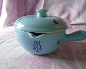 Vintage Cronin Blue Tulip 2 pcs. Pottery Bake Ware, Handle and Pour Spout, 1930-1950,