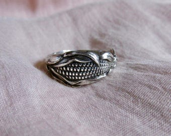 Corn Maize Spoon Ring Sterling Silver Ring Symbolic of Wishes for Prosperity and Remembrance