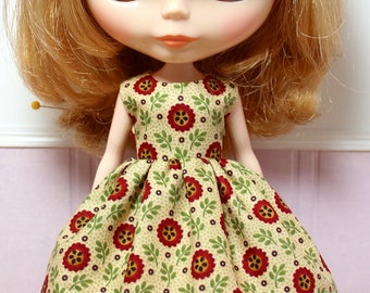 BLYTHE doll Its my party dress - red sunflowers