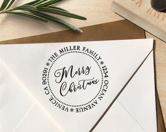 Merry Christmas Address Stamp, Christmas Address Stamp, Christmas Stamp, Merry Christmas, Christmas Card Stamp, Address Stamp, Calligraphy