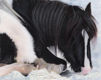"""GYPSY PONY in the Snow - Original Acrylic painting on canvas - 7"""" x 7"""" in a 12"""" x 12"""" mount"""