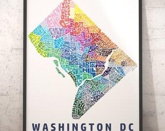 Washington DC neighborhood map print, Washington DC map art, Washington DC art, Washington dc typography, several color and size options
