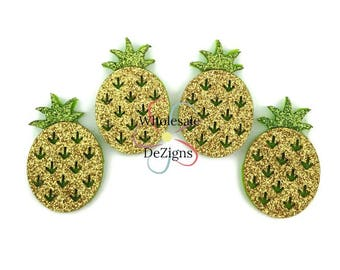 Gold Glitter Pineapple Felties - Green and Gold - Appliques - Felt Patch - Pineapples Fruit - DIY Headband Hair Clip Embellishment - 1.5""