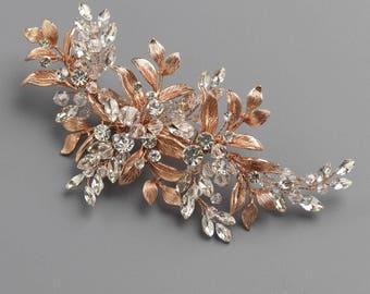 Rose Gold Floral Clip, Bridal Hair Clip, Rhinestone & Crystal Wedding Hair Accessory, Rose Gold Wedding Clip, Botanical Clip ~TC-2310