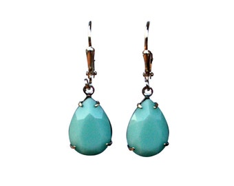 Mint Green Earring, Mint Drop Earring, Mint Green Earring, Green Teardrop Earring, Mint Alabaster Earrings, Mint Bridesmaid Earrings
