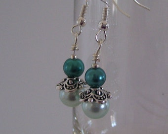 Vintage Mint Green and Teal Pearl Drop Earrings on French Wire
