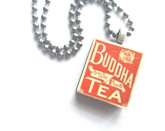 Buddha Tea Scrabble Tile Necklace with Stainless Steel Ball Chain