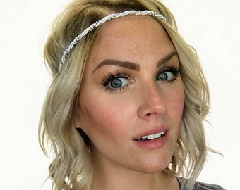 The Emily - White and Silver Pearl Twisted Boho Headband