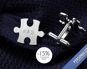 Personalized Cufflinks - Groom Cufflinks - Puzzle Cufflinks engraved - Bride to groom gift - Sterling Silver Cufflinks
