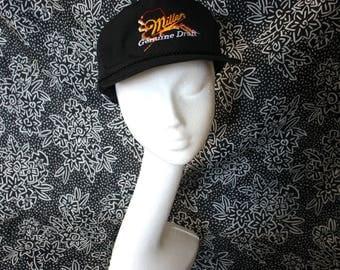 Miller Genuine Draft Beer Vintage 90s Snapback Baseball Cap. Miller Beer Black Hipster Nautical Hat. 90s MGD Beer Deadstock Hat