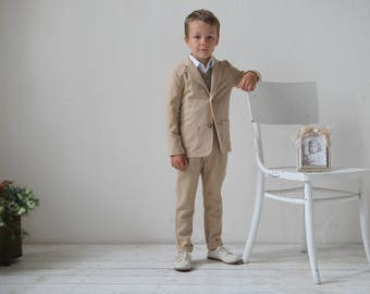 Ring bearer outfit wedding party outfit toddler boy linen vest - Taufe outfit junge ...