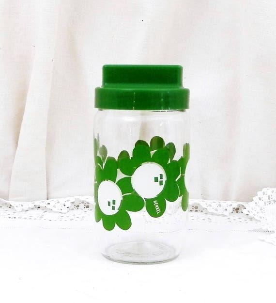 Vintage French Airtight Henkel Glass Storage Jar with Green Flower Design, 1960S Vintage Kitchen Decor, Retro Kitchenalia from France