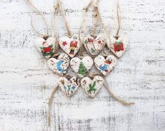 Set of 9 Christmas ornaments Christmas decoration rustic cottage chic shabby chic red white gold retro vintage
