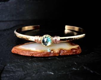 Mystic Topaz Bracelet / November Birthstone Jewelry Gift for Wife / Gemstone Cuff Bracelet / Rose Gold Bracelet Gift for Mom